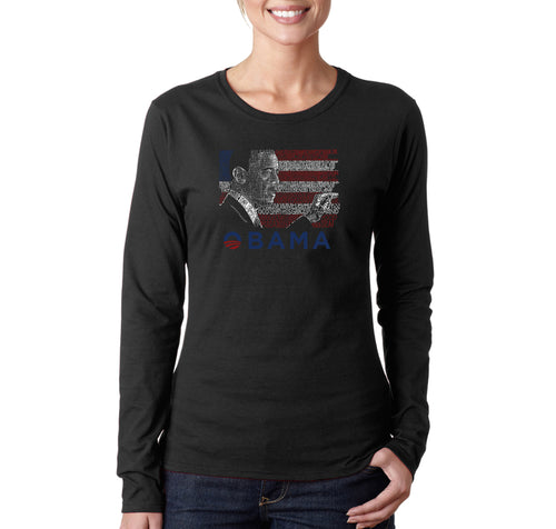 LA Pop Art Women's Word Art Long Sleeve T-Shirt - BARACK OBAMA - ALL LYRICS TO AMERICA THE BEAUTIFUL