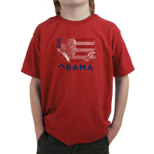 Load image into Gallery viewer, LA Pop Art Boy's Word Art T-shirt - BARACK OBAMA - ALL LYRICS TO AMERICA THE BEAUTIFUL