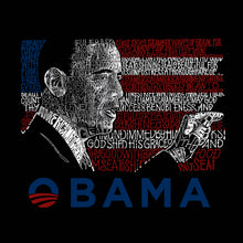 Load image into Gallery viewer, LA Pop Art Men's Word Art Hooded Sweatshirt - BARACK OBAMA - ALL LYRICS TO AMERICA THE BEAUTIFUL