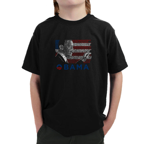 LA Pop Art Boy's Word Art T-shirt - BARACK OBAMA - ALL LYRICS TO AMERICA THE BEAUTIFUL