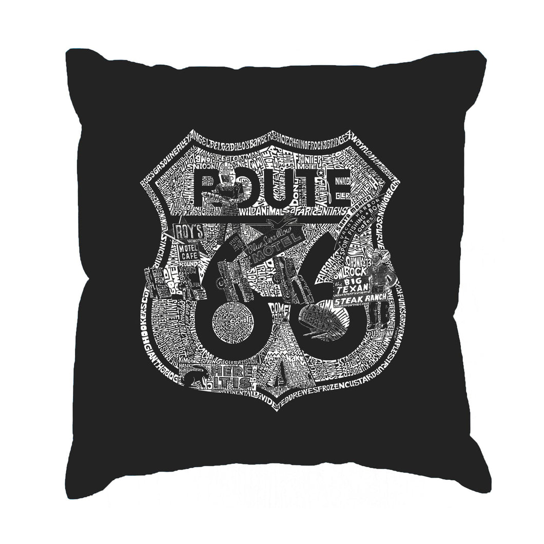 LA Pop Art Throw Pillow Cover - Stops Along Route 66