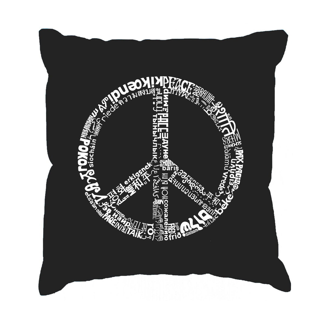 LA Pop Art Throw Pillow Cover - THE WORD PEACE IN 77 LANGUAGES