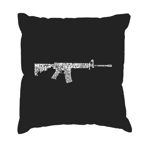 LA Pop Art Throw Pillow Cover - AR15 2nd Amendment Word Art