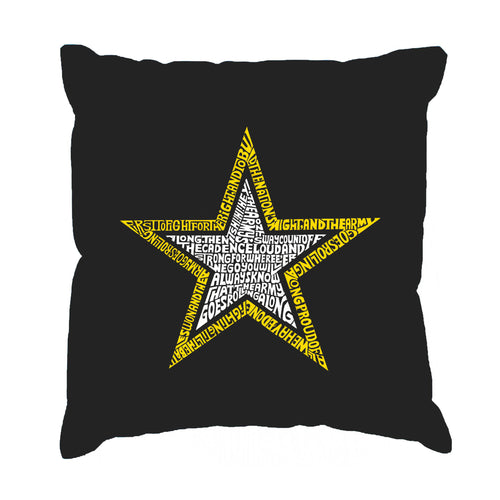 LA Pop Art Throw Pillow Cover - LYRICS TO THE ARMY SONG