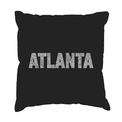 LA Pop Art Throw Pillow Cover - ATLANTA NEIGHBORHOODS