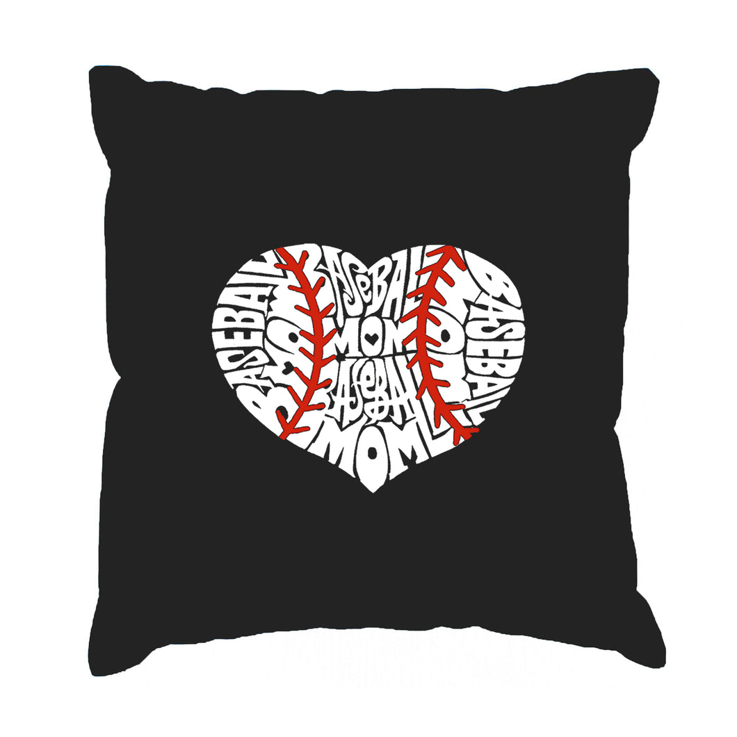 LA Pop Art Throw Pillow Cover - Baseball Mom
