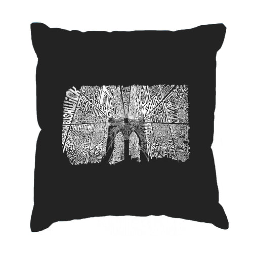 LA Pop Art Throw Pillow Cover - Brooklyn Bridge