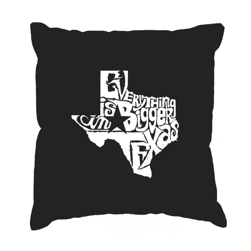 LA Pop Art Throw Pillow Cover - Everything is Bigger in Texas