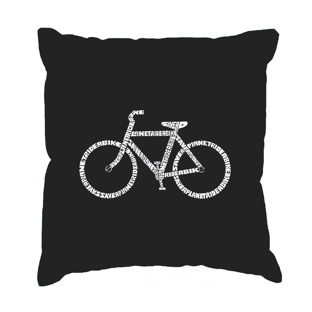 LA Pop Art Throw Pillow Cover - SAVE A PLANET, RIDE A BIKE