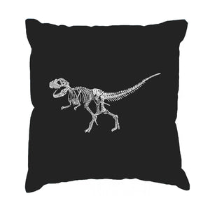 LA Pop Art Throw Pillow Cover - Dinosaur T-Rex Skeleton