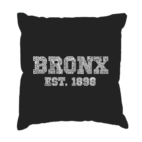 LA Pop Art Throw Pillow Cover - POPULAR NEIGHBORHOODS IN BRONX, NY