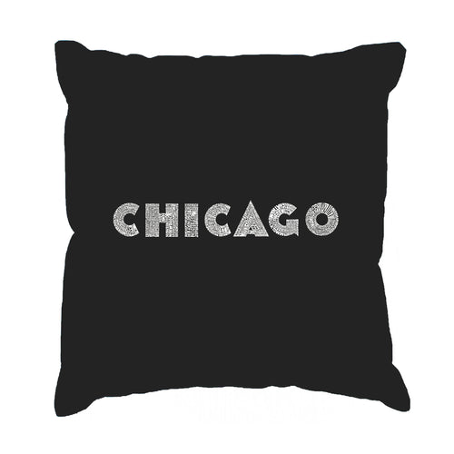 LA Pop Art Throw Pillow Cover - CHICAGO NEIGHBORHOODS