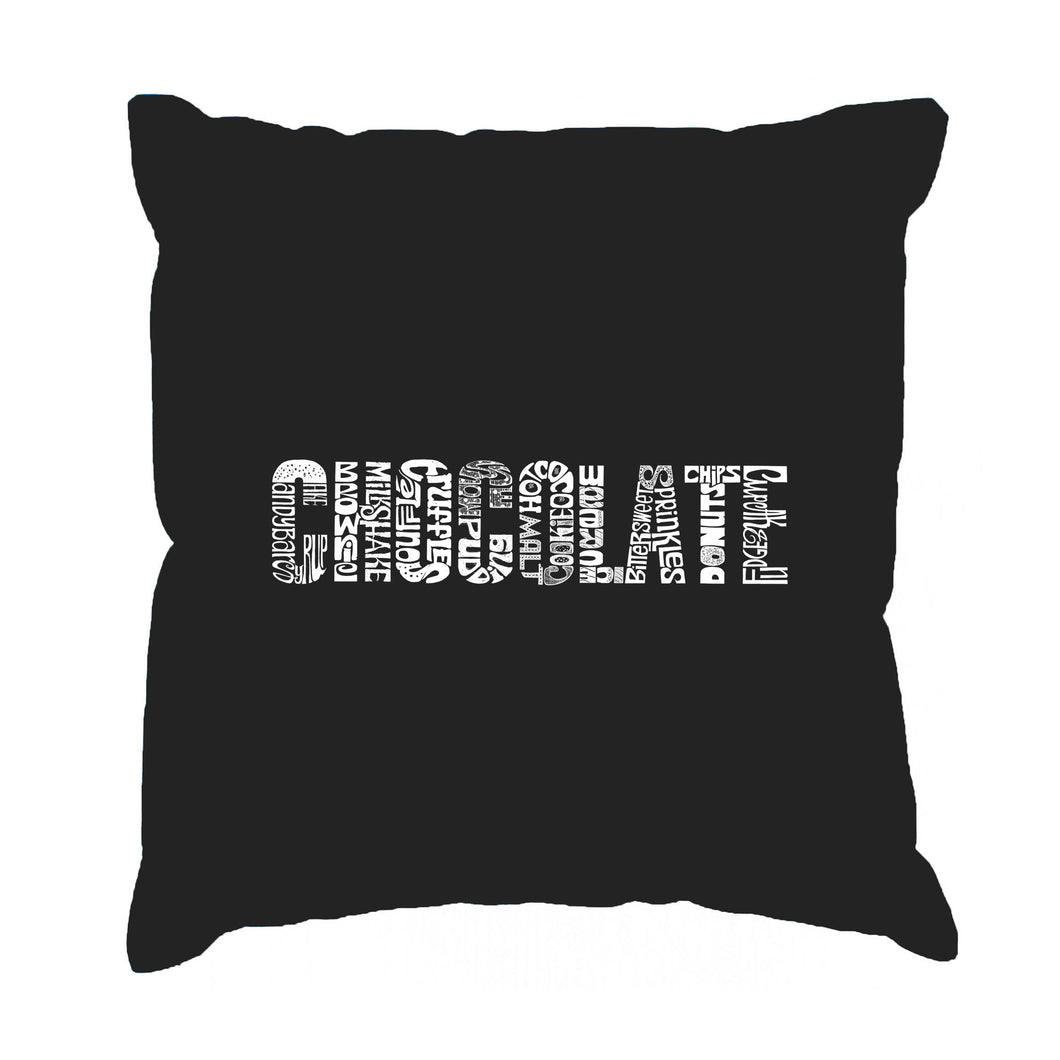 LA Pop Art Throw Pillow Cover - Different foods made with chocolate