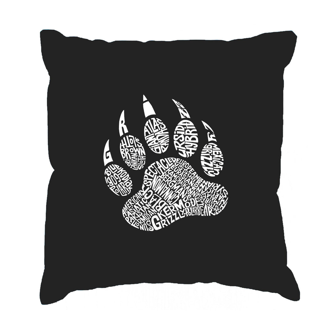 LA Pop Art  Throw Pillow Cover - Types of Bears