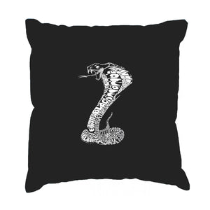LA Pop Art  Throw Pillow Cover - Types of Snakes