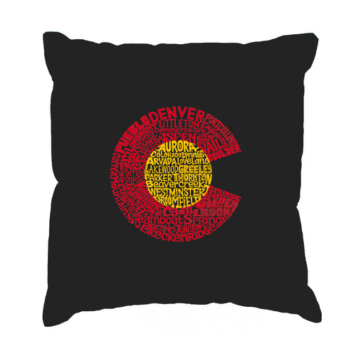 LA Pop Art Throw Pillow Cover - Colorado