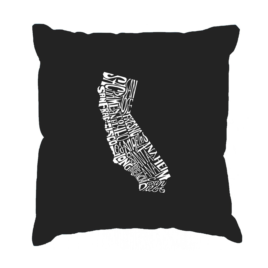 LA Pop Art  Throw Pillow Cover - California State