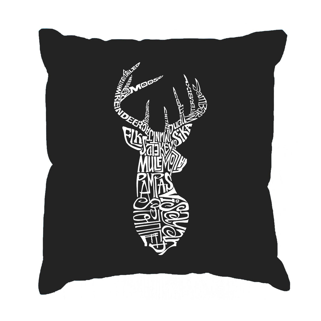 LA Pop Art Throw Pillow Cover - Types of Deer