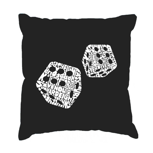 LA Pop Art Throw Pillow Cover - DIFFERENT ROLLS THROWN IN THE GAME OF CRAPS
