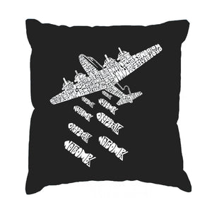 LA Pop Art Throw Pillow Cover - DROP BEATS NOT BOMBS