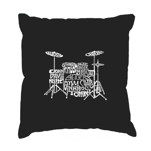 LA Pop Art Throw Pillow Cover - Drums