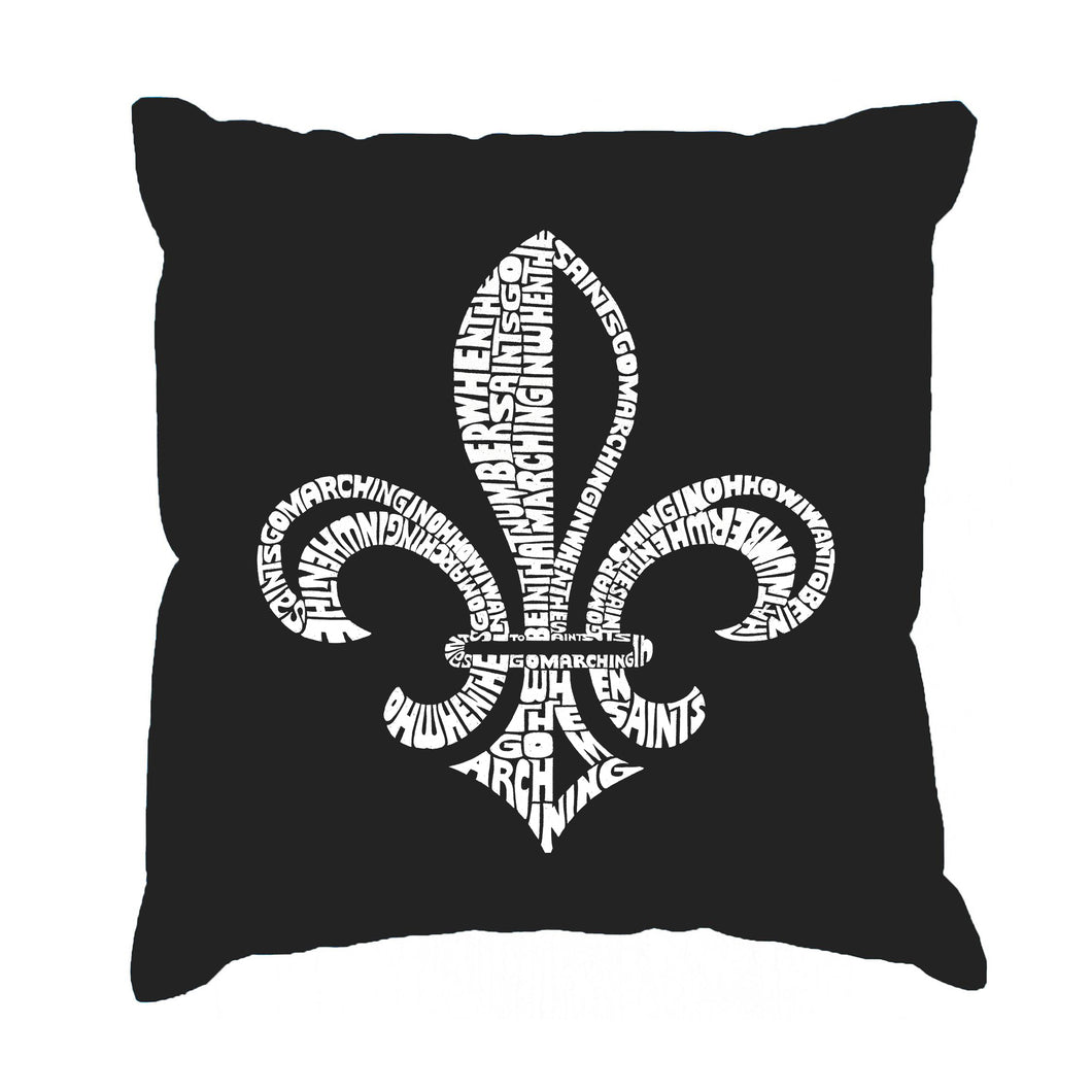 LA Pop Art Throw Pillow Cover - LYRICS TO WHEN THE SAINTS GO MARCHING IN