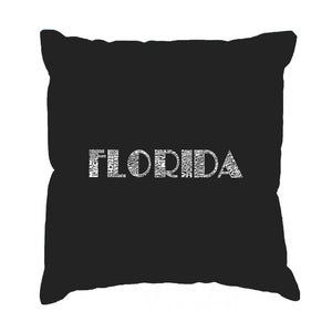 LA Pop Art Throw Pillow Cover - POPULAR CITIES IN FLORIDA