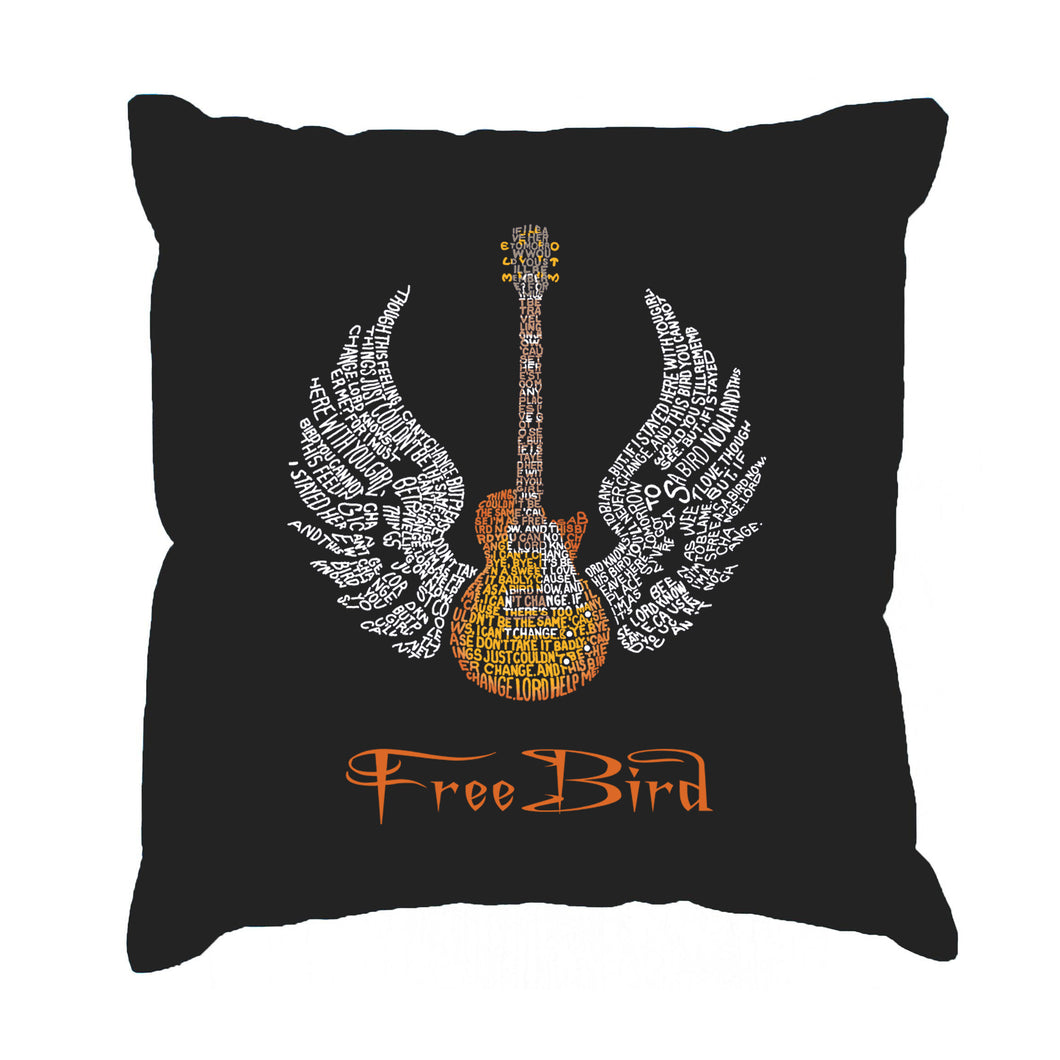LA Pop Art Throw Pillow Cover - LYRICS TO FREEBIRD