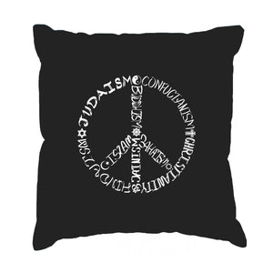 LA Pop Art  Throw Pillow Cover - Different Faiths peace sign