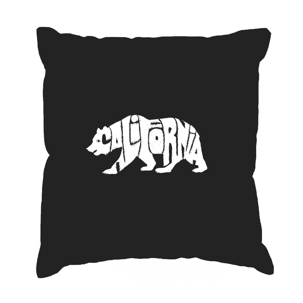 LA Pop Art Throw Pillow Cover - California Bear
