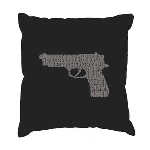 LA Pop Art Throw Pillow Cover - RIGHT TO BEAR ARMS