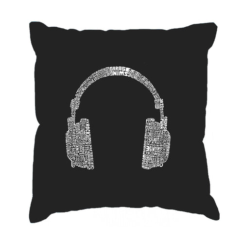 LA Pop Art Throw Pillow Cover - 63 DIFFERENT GENRES OF MUSIC