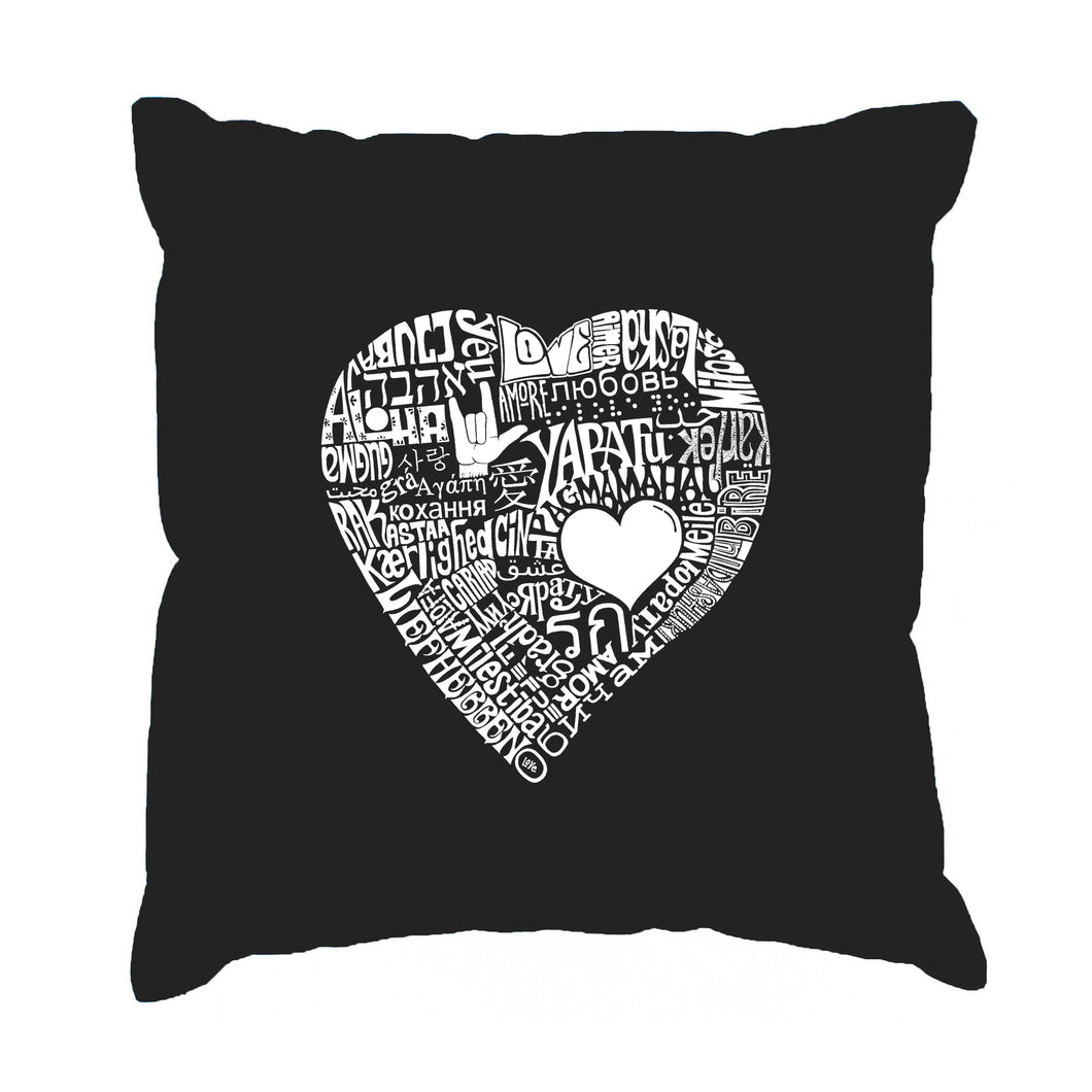 LA Pop Art Throw Pillow Cover - LOVE IN 44 DIFFERENT LANGUAGES