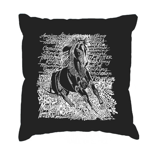 LA Pop Art Throw Pillow Cover - POPULAR HORSE BREEDS