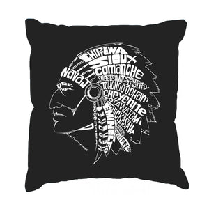 LA Pop Art Throw Pillow Cover - POPULAR NATIVE AMERICAN INDIAN TRIBES
