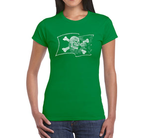 LA Pop Art Women's Word Art T-Shirt - FAMOUS PIRATE CAPTAINS AND SHIPS