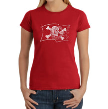 Load image into Gallery viewer, LA Pop Art Women's Word Art T-Shirt - FAMOUS PIRATE CAPTAINS AND SHIPS