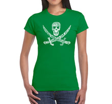 Load image into Gallery viewer, LA Pop Art Women's Word Art T-Shirt - PIRATE CAPTAINS, SHIPS AND IMAGERY