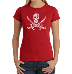 LA Pop Art Women's Word Art T-Shirt - PIRATE CAPTAINS, SHIPS AND IMAGERY