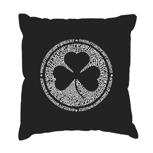 LA Pop Art Throw Pillow Cover - LYRICS TO WHEN IRISH EYES ARE SMILING