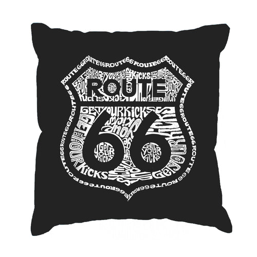 LA Pop Art Throw Pillow Cover - Get Your Kicks on Route 66