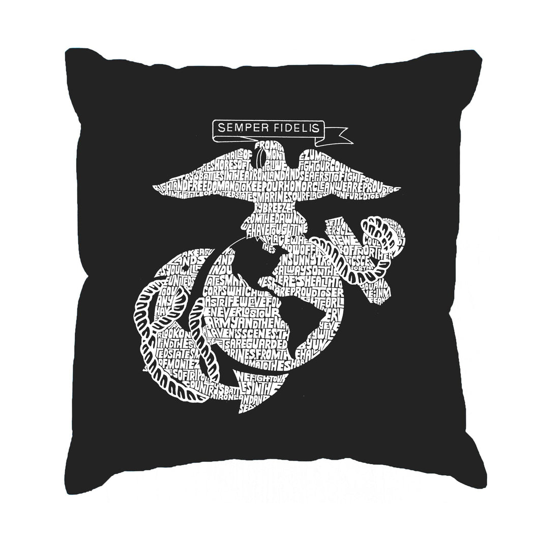 LA Pop Art Throw Pillow Cover - LYRICS TO THE MARINES HYMN