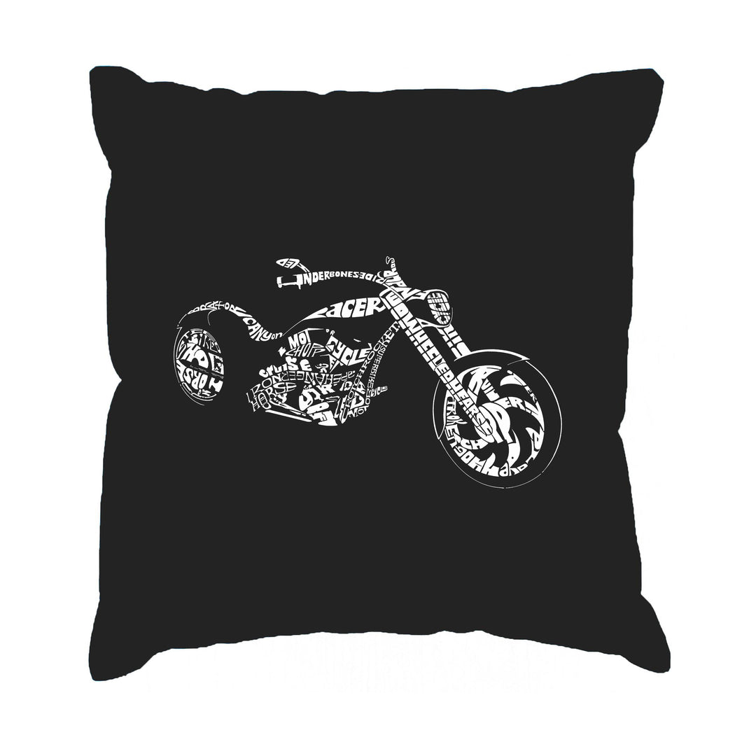 LA Pop Art Throw Pillow Cover - MOTORCYCLE