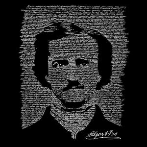 LA Pop Art Men's Raglan Baseball Word Art T-shirt - EDGAR ALLAN POE - THE RAVEN