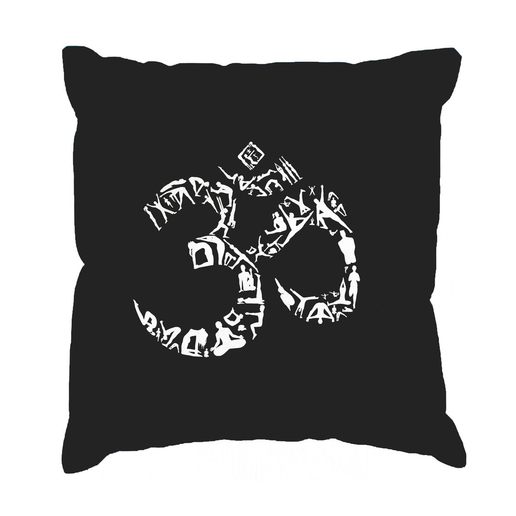 LA Pop Art Throw Pillow Cover - THE OM SYMBOL OUT OF YOGA POSES