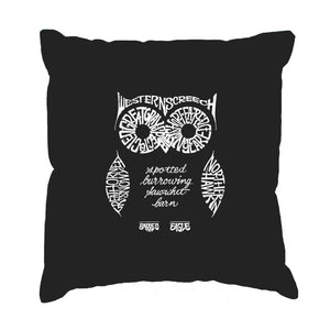 LA Pop Art  Throw Pillow Cover - Owl