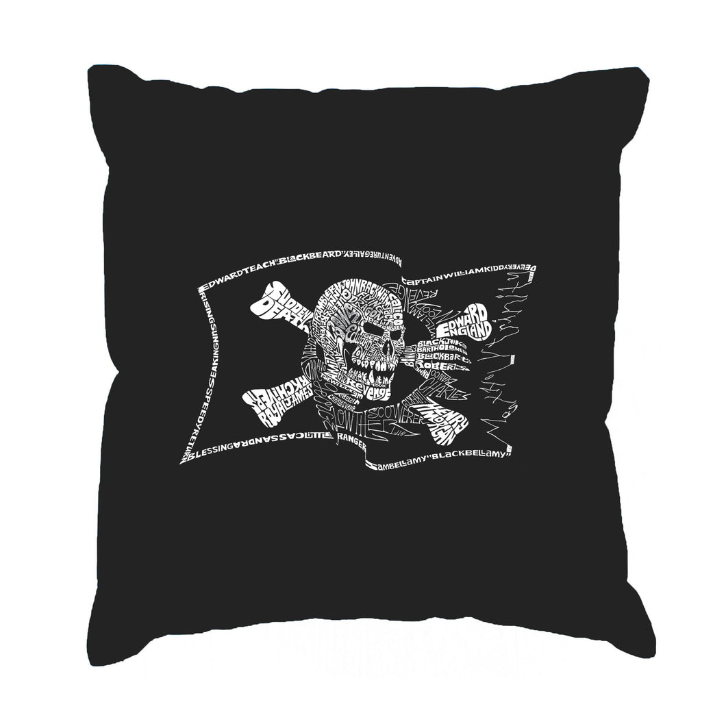 LA Pop Art Throw Pillow Cover - FAMOUS PIRATE CAPTAINS AND SHIPS