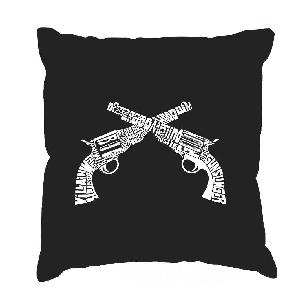 LA Pop Art Throw Pillow Cover - CROSSED PISTOLS