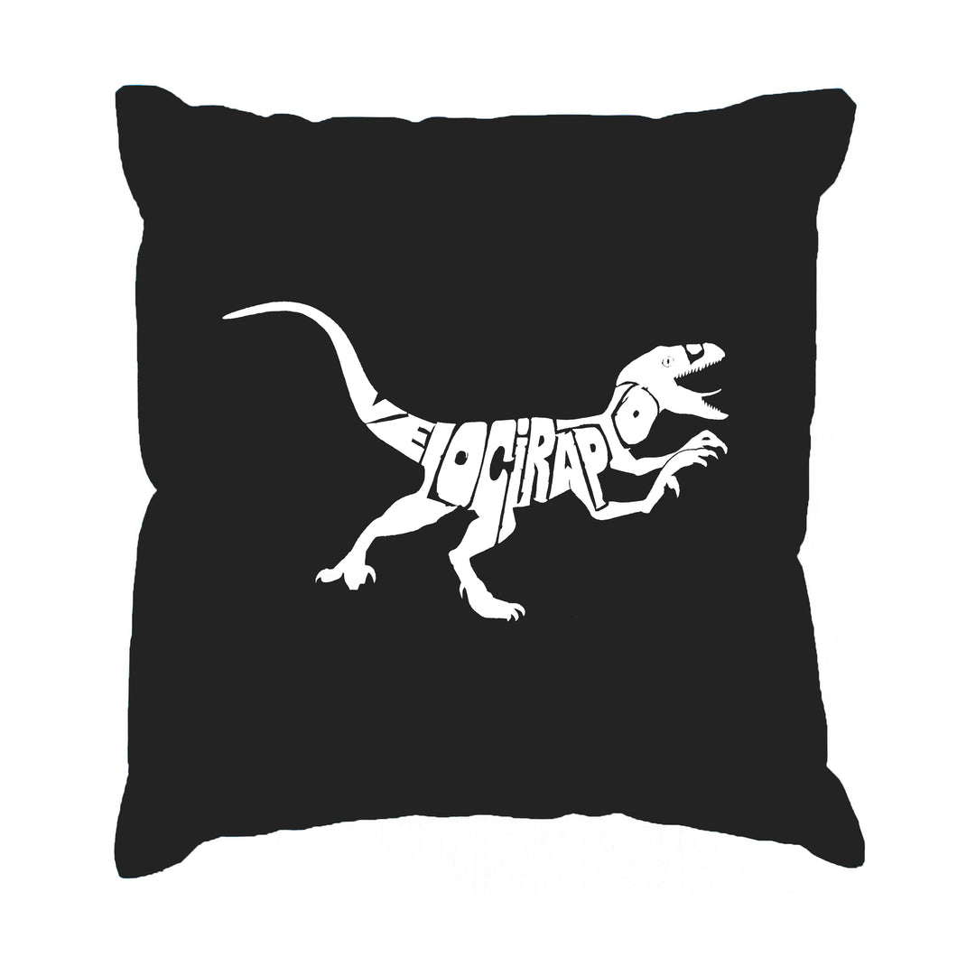 LA Pop Art Throw Pillow Cover - Velociraptor