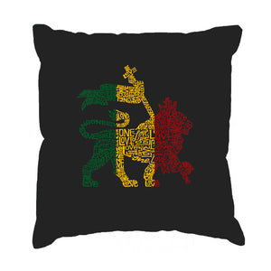 LA Pop Art Throw Pillow Cover - Rasta Lion - One Love